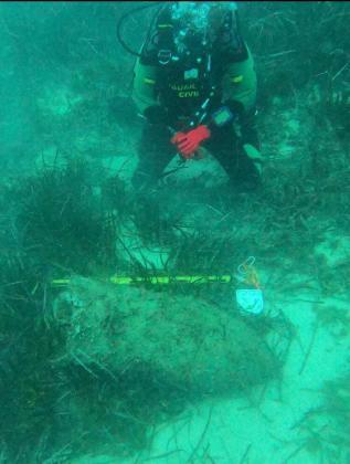 El instituto armado fue alertado de la presencia del proyectil en el lecho marino por un buceador civil que lo encontró durante una inmersión.