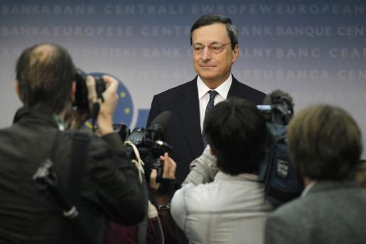 El presidente del BCE, Mario Draghi, en la rueda de prensa ofrecida esta mañana en Frankfurt.