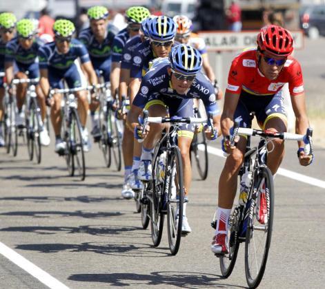 Contador, durante la etapa de hoy.