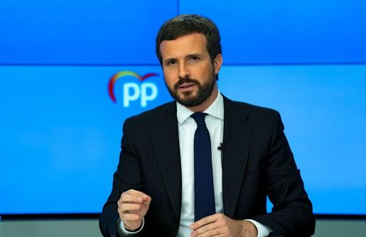 El presidente del Partido Popular, Pablo Casado, ofrece una rueda de prensa tras la reunión del Comité de Dirección.