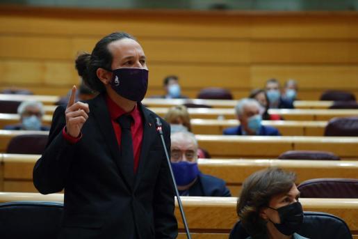 GRAF4332. MADRID 20/10/2020.- El vicepresidente segundo del Gobierno, Pablo Iglesias, interviene durante la sesión de control al Gobierno, este martes en el Pleno del Senado, en Madrid. EFE/Emilio Naranjo PLENO DEL SENADO
