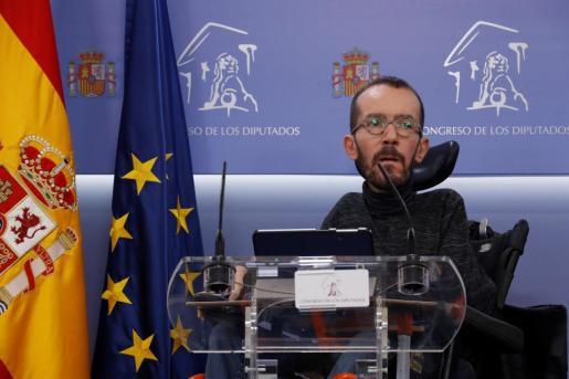 El portavoz de Unidas Podemos en el Congreso de los Diputados, Pablo Echenique.