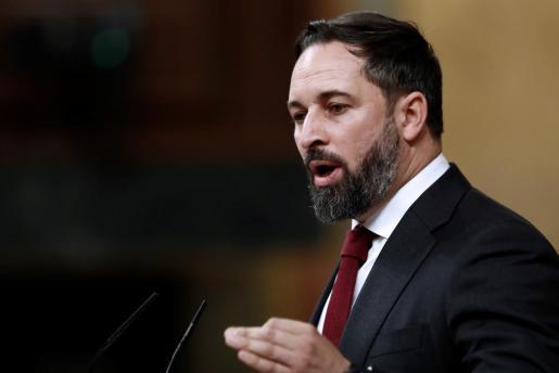 El líder de Vox, Santiago Abascal durante su intervención durante la moción de censura de su partido al gobierno de coalición en el Congreso de los Diputados este miércoles.