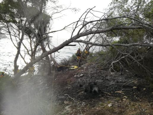Operarios del Ibanat trabajando en la extinción del incendio.