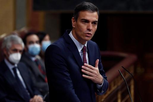 El presidente del Gobierno, Pedro Sánchez, fotografiado en el Congreso de los Diputados durante el debate de la moción de censura de Vox que no prosperó.