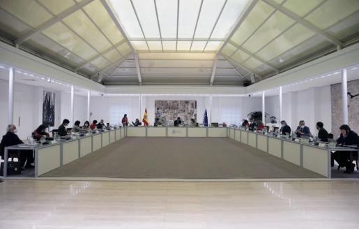 El presidente del gobierno, Pedro Sánchez, preside la reunión del Consejo de Ministros, el pasado martes en el Complejo de la Moncloa en Madrid.