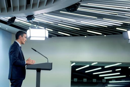 El presidente del Gobierno, Pedro Sánchez, durante la rueda de prensa de este pasado viernes.