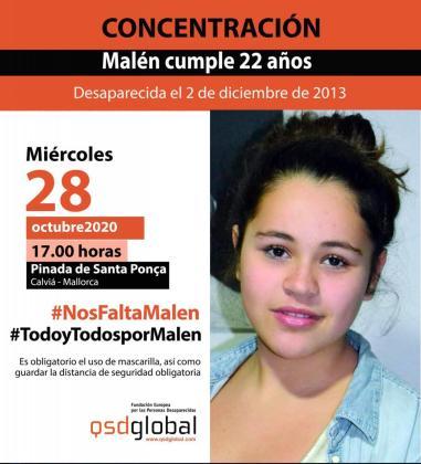El cartel, que incluye una fotografía y el nombre completo de la desaparecida, Malén Zoe Ortiz Rodríguez.
