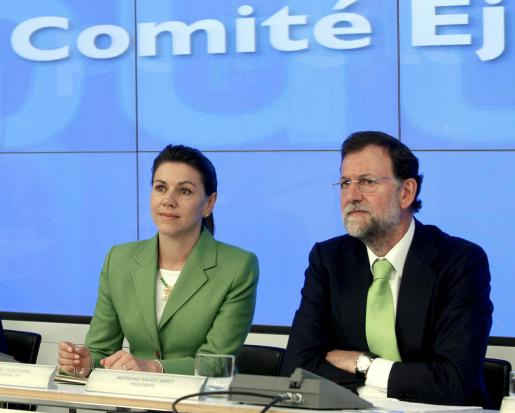 El presidente y la secretaria general del PP, Mariano Rajoy y María Dolores de Cospedal, durante la reunión del Comité Ejecutivo Nacional del partido.