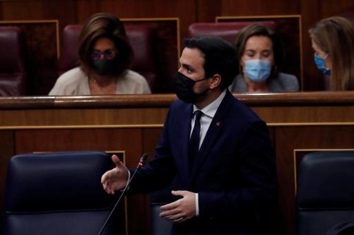 El ministro de Consumo, Alberto Grazón , durante su intervención en la sesión de control al Ejecutivo este miércoles.