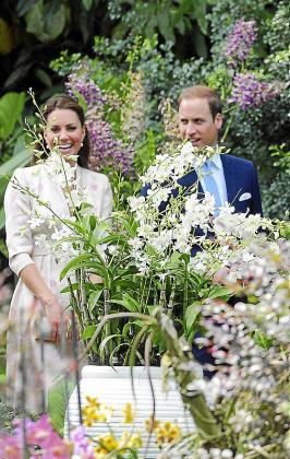 XSM102 SINGAPUR (SINGAPUR) 11/09/2012.- El príncipe Guillermo de Inglaterra (dcha) y su mujer, Catalina duquesa de Cambridge, observan una orquídea con el nombre de su madre, la princesa Diana, durane una visita al Jardín de Orquídeas en el jardín botánico de Singapur hoy, martes 11 de septiembre de 2012. Los duques de Cambridge visitan Singapur en su primer día de una gira de 10 días por el sureste asiático y el sur del Pacífico en nombre de la Reina Isabel II con motivo de su Jubileo de Diamantes por los