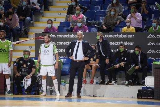 Antonio Vadillo, técnico del Palma Futsal, durante el partido ante el FC Barcelona disputado en Son Moix.