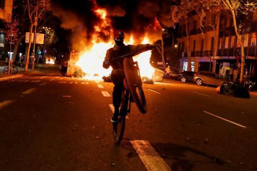 Imagen de los disturbios de Barcelona.