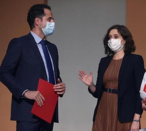 La presidenta de la Comunidad de Madrid, Isabel Díaz Ayuso, y su vicepresidente, Ignacio Aguado.