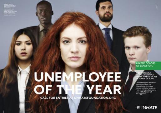 La firma italiana Benetton busca al 'parado del año' en su nueva campaña publicitaria.