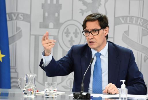 El ministro de Sanidad, Salvador Illa, en rueda de prensa para analizar la situación de la pandemia de covid-19.