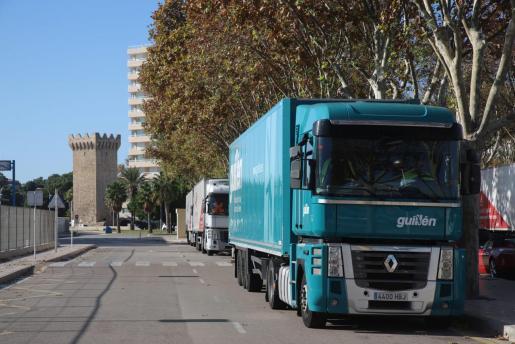 Los camiones esperan en fila en la estación marítima de Palma.