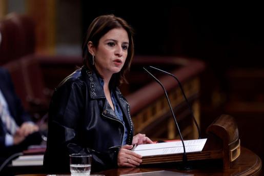 La portavoz del PSOE, Adriana Lastra durante su intervención en el Congreso este jueves durante la segunda jornada de debate a la totalidad de los Presupuestos de 2021.