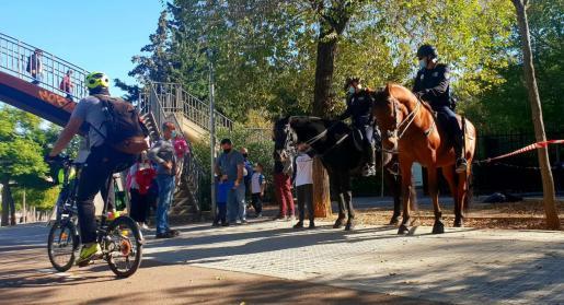 Policias de la Sección Montada vigilan en las inmediaciones de un centro escolar de Palma.