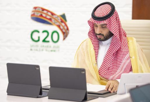 El Príncipe Mohammed bin Salman bin Abdulaziz, durante el encuentro virtual de los países más desarrollados del mundo.