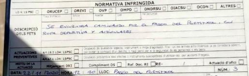 Sanción impuesta al joven que paseaba sin mascarilla por el Portitxol.