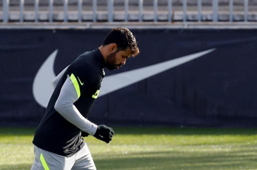 El jugador del Atlético de Madrid Diego Costa durante un reciente entrenamiento.