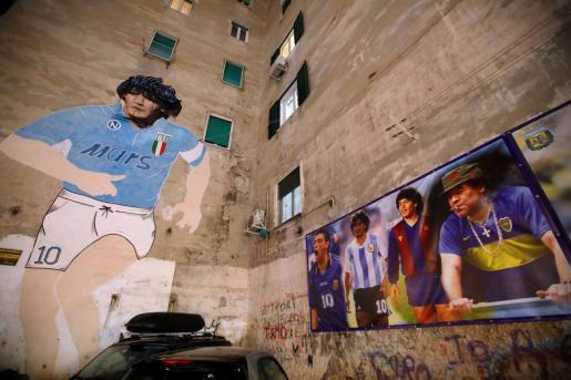 Mural del futbolista en Argentina.
