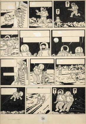 Imagen de un original de 'Tintín: objetivo la Luna'.