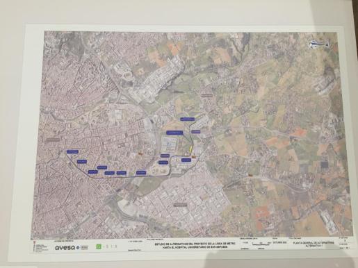 Detalle de la línea de tranvía proyectada hasta Son Espases.