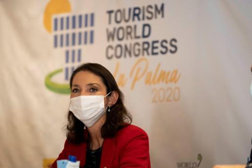 La Ministra de Turismo, Reyes Maroto, durante la rueda de prensa que ofreció este lunes.