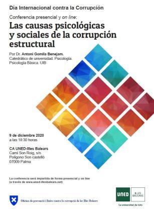 La Oficina Anticorrupción organiza una conferencia impartida por el profesor de la UIB Dr. Antoni Gomila Benejam con el título 'Las causas psicológicas y sociales de la corrupción estructural'.