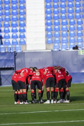 Los jugadores del Mallorca, este sábado antes del partido contra el Leganés.