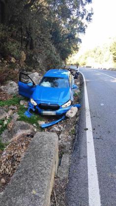 Estado del vehículo poco después de sufrir el accidente, este martes a las 12.30 horas.