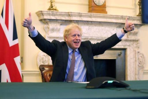 Imagen de Boris Johnson tras el acuerdo.