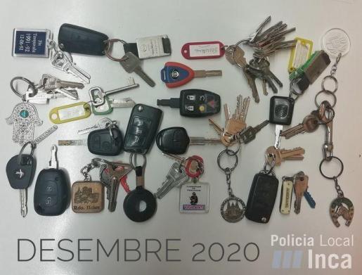 Imagen de llaves perdidas y llevadas al cuartel de la Policía Local de Inca.