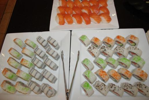 Un detalle de su especialidad en sushi, maki, roll, niguiri, etc.