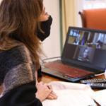 Armengol durante la videoconferecia con Nadia Calviño.