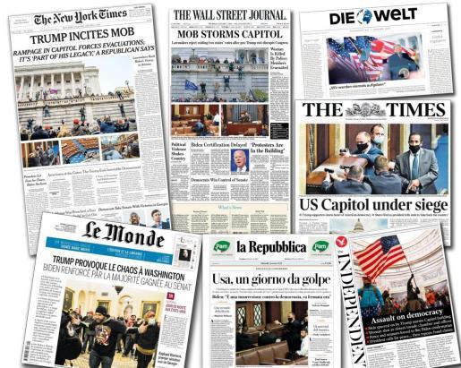 Portadas de varios diarios internacionales.