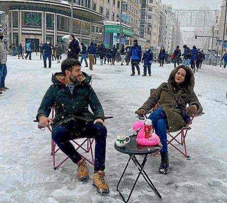 Pese a los problemas, Pilar ha podido contemplar Madrid nevada.