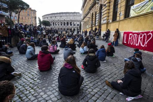 Una protesta de estudiantes en Roma.