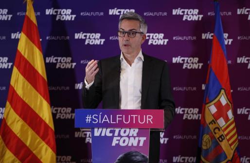 El candidato a las elecciones a la presidencia del FC Barcelona Victor Font durante la rueda de prensa que ha ofrecido este jueves.