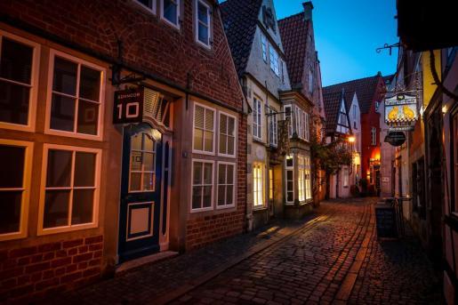 Una calle vacía en Bremen, al norte de Alemania.