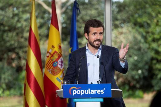El presidente del PP, Pablo Casado presenta la candidatura del PPC a las próximas elecciones catalanas.