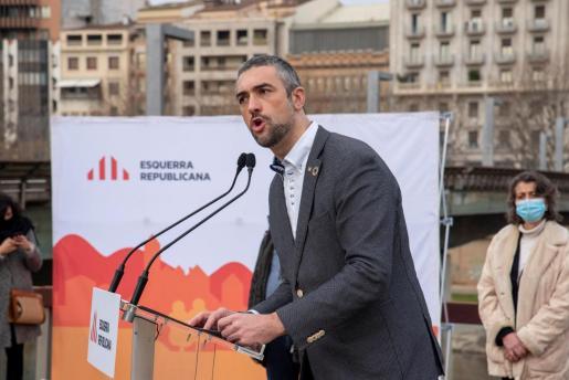 El conseller Bernat Solé interviene en un acto preelectoral en Lleida este sábado.