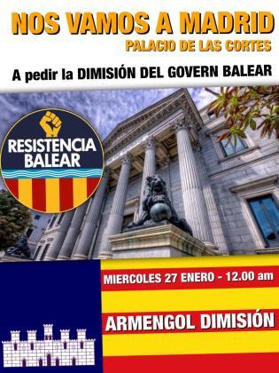 Cartel difundido este martes por Resistencia balear.