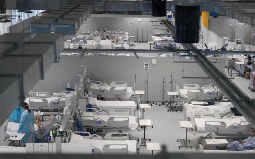 Madrid registra el mayor número de casos de la cepa británica. En la imagen el tercer pabellón del Hospital público Enfermera Isabel Zendal para afrontar la tercera ola del COVID-19 con 352 camas más de hospitalización.