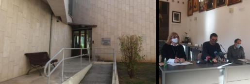 Entrada de la residencia municipal de Pollença e imagen de la rueda de prensa ofrecida este lunes por la regidora de Benestar Social, el alcalde y el gerente del centro.