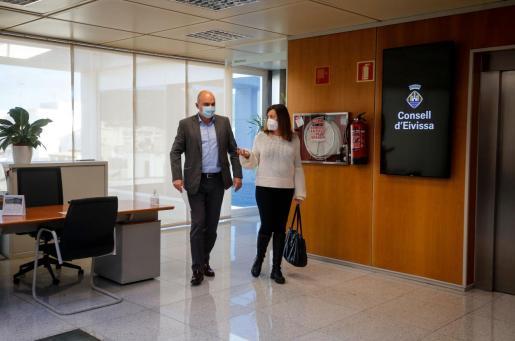 Vicent Marí y Francina Armengol, el día 16 de enero, en una reunión en Ibiza, donde se han vuelto a encontrar este lunes.