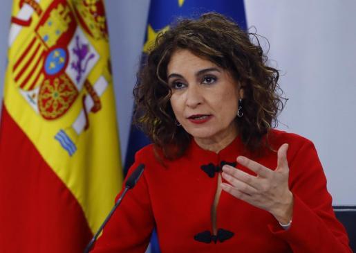 La ministra de Hacienda y portavoz del Gobierno, María Jesús Montero, en rueda de prensa tras reunión del Consejo de Ministros.