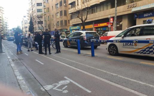 Amplio dispositivo policial desplegado en la avenida Argentina de Palma.